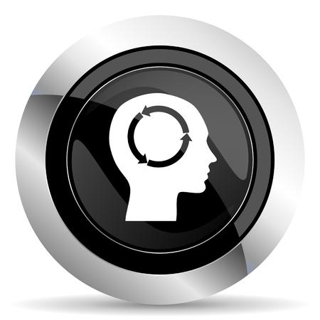 keen: head icon, black chrome button, human head sign