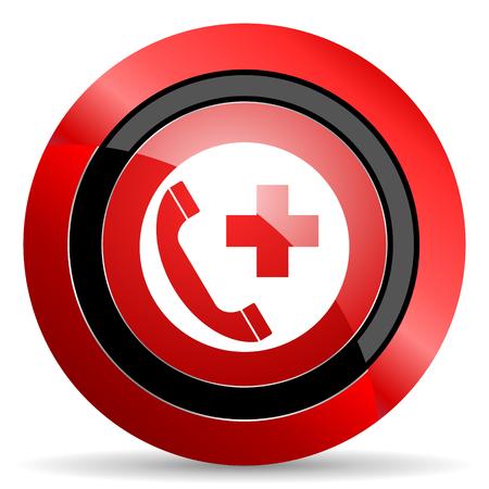 emergency call: emergency call red glossy web icon
