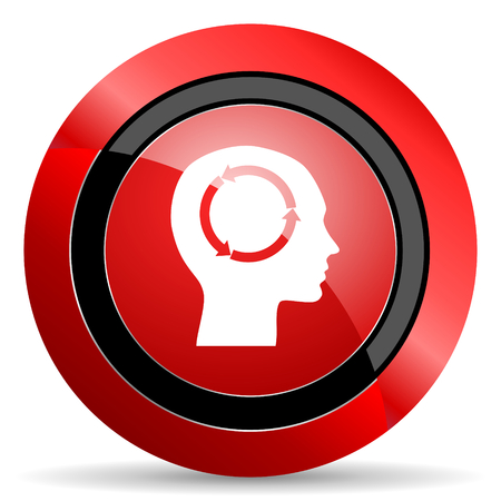 keen: head red glossy web icon Stock Photo