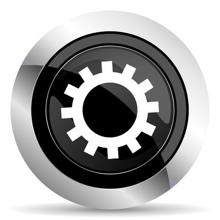 chrome: gears icon, black chrome button, options sign Stock Photo