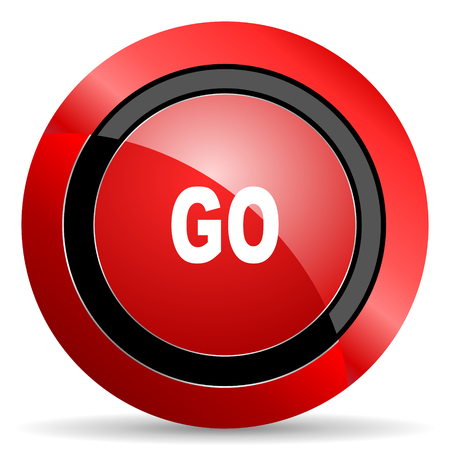 proceed: go red glossy web icon Stock Photo
