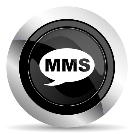 mms: mms icon, black chrome button, message sign