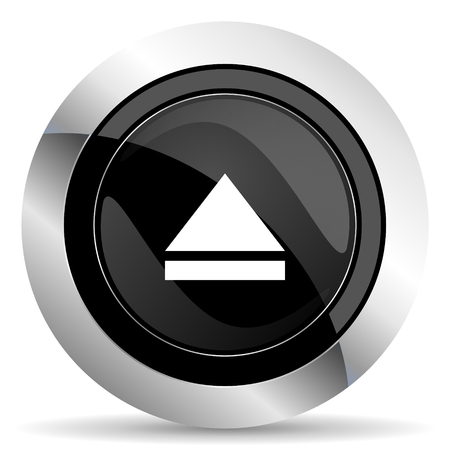 eject icon: eject icon, black chrome button, open sign
