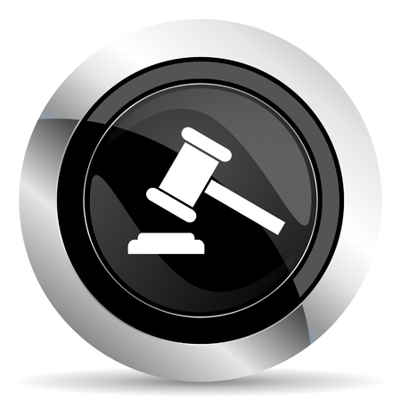 verdict: auction icon, black chrome button, court sign, verdict symbol Stock Photo