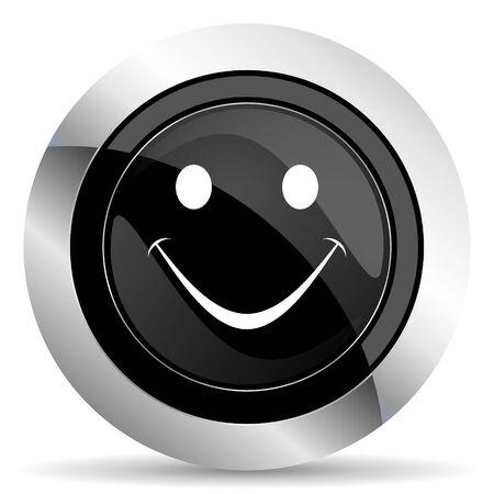 smile icon: smile icon, black chrome button Stock Photo
