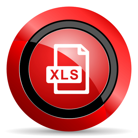 calc: xls file red glossy web icon Stock Photo