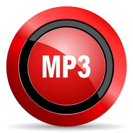 mp3: mp3 red glossy web icon