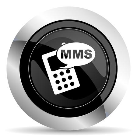 mms: mms icon, black chrome button, phone sign