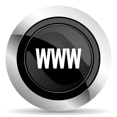 www icon: www icon, black chrome button Stock Photo