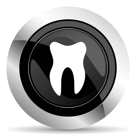 tooth icon: tooth icon, black chrome button Stock Photo