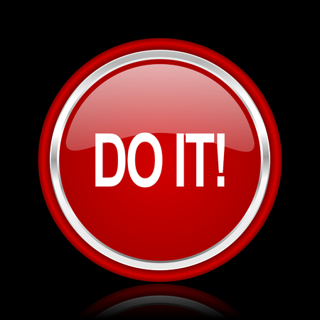 it: do it red glossy web icon