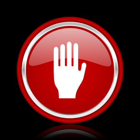 coachman: stop red glossy web icon Stock Photo