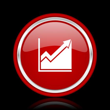 histogram: histogram red glossy web icon Stock Photo