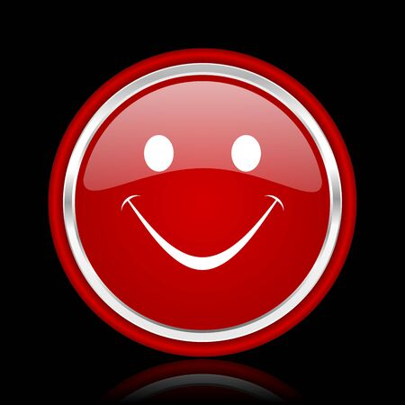 smileys: smile red glossy web icon Stock Photo