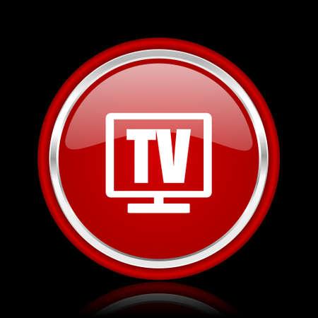 programm: tv red glossy web icon Stock Photo