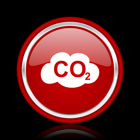 anidride carbonica: carbon dioxide red glossy web icon