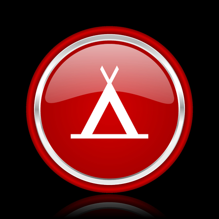 icono web: campamento icono rojo brillante Web