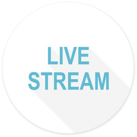 live stream movie: live stream flat design modern icon with long shadow for web and mobile app