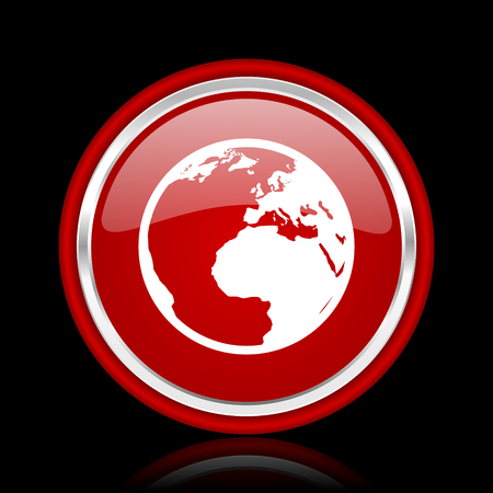meridians: earth red glossy web icon Stock Photo