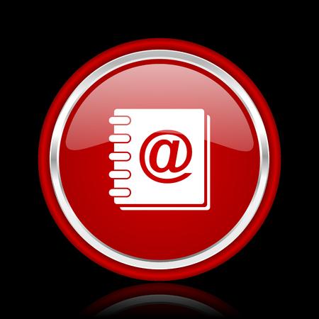 address book: address book red glossy web icon