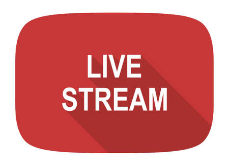 live stream tv: live stream flat design modern icon with long shadow for web and mobile app