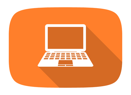 netbooks: computer flat design modern icon with long shadow for web and mobile app Stock Photo