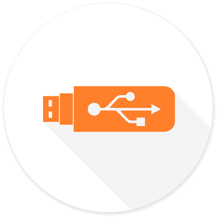 usb pendrive: usb flat design modern icon with long shadow for web and mobile app Stock Photo