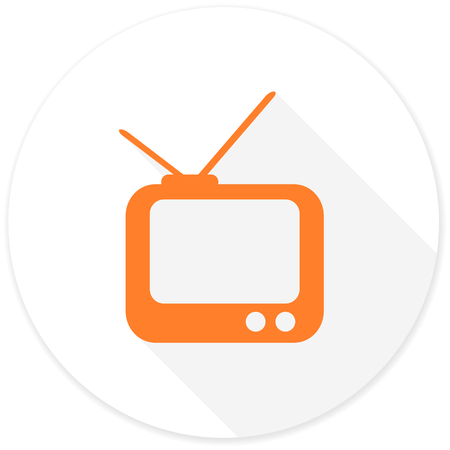 programm: tv flat design modern icon with long shadow for web and mobile app
