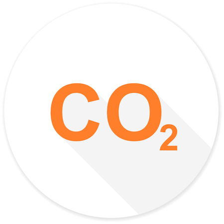carbon dioxide: carbon dioxide flat design modern icon with long shadow for web and mobile app Stock Photo