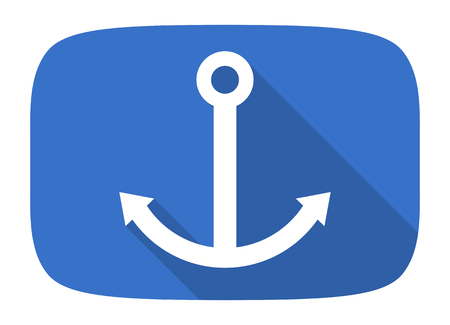 anchor flat design modern icon with long shadow for web and mobile app Stock Photo