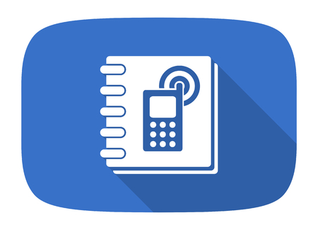 phonebook: phonebook flat design modern icon with long shadow for web and mobile app