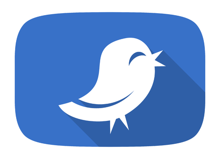 twitter flat design modern icon with long shadow for web and mobile app