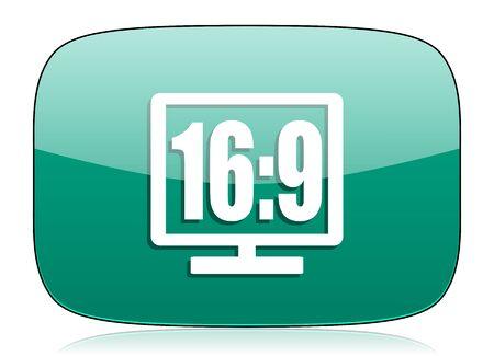 16: 16 9 display green icon