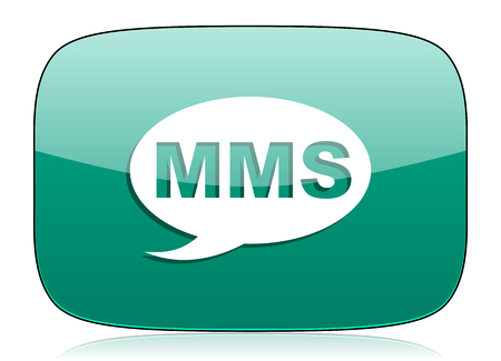 mms: mms green icon message sign Stock Photo