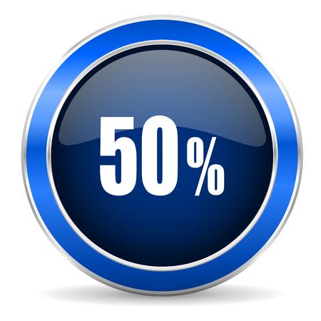 50: 50 percent icon sale sign