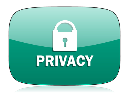 secure site: privacy green icon Stock Photo