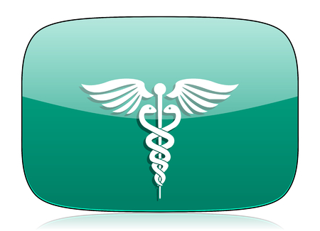 caduceus medical symbol: emergency green icon hospital sign Stock Photo