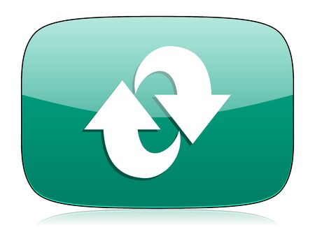 rotation green icon refresh sign Stock Photo