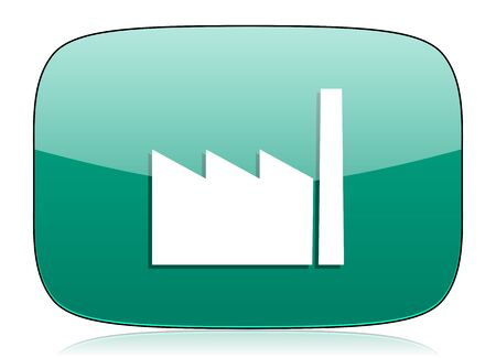 industrialist: factory green icon industry sign manufacture symbol