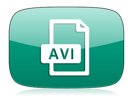 avi: avi file green icon Stock Photo
