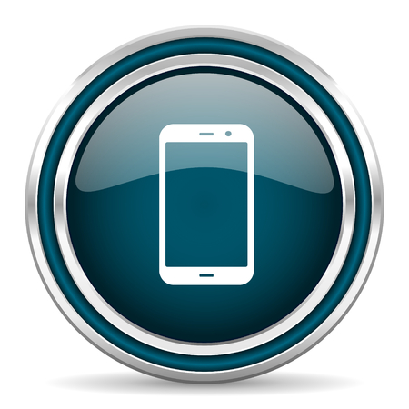 technological and communication: smartphone blue glossy web icon