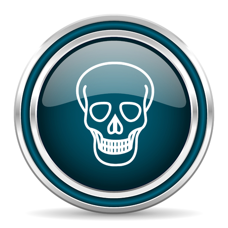 pirating: skull blue glossy web icon