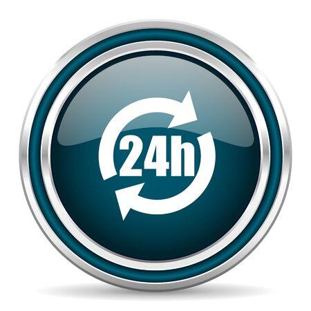 24h: 24h blue glossy web icon
