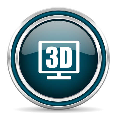 display: 3d display blue glossy web icon