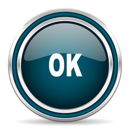 yea: ok blue glossy web icon Stock Photo