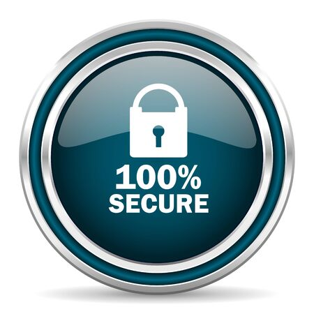 secure: secure blue glossy web icon Stock Photo