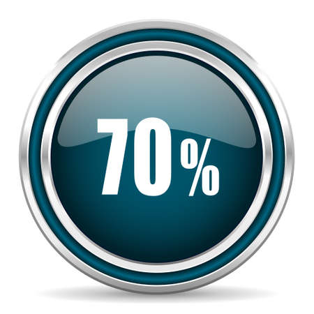 70: 70 percent blue glossy web icon
