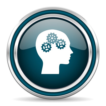 learning icon: head blue glossy web icon