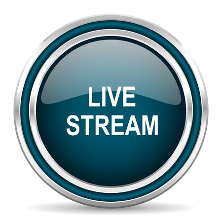 livestream: live stream blue glossy web icon