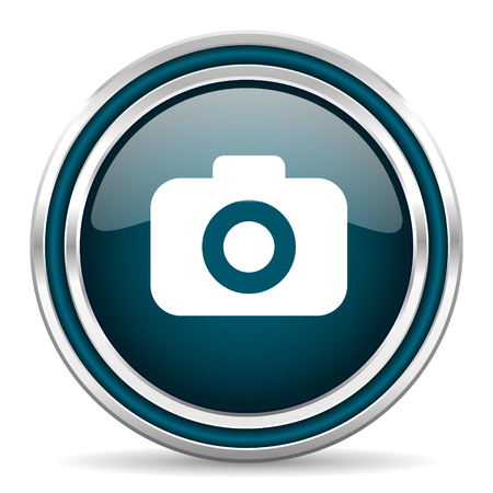 picto: photo camera blue glossy web icon Stock Photo